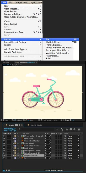 import the clouds file in adobe after effects