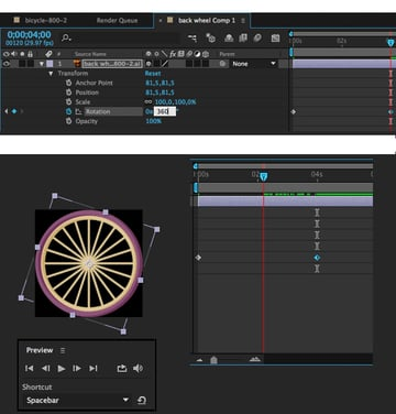 set the rotation value and play the animation