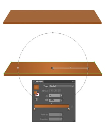 apply radial gradient to the table