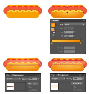 make the hot-dog realistic by adding gradients and shadows and highlights