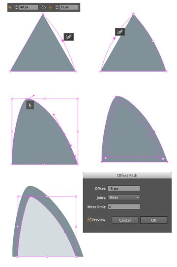 form the ear from a 40x35 px triangle