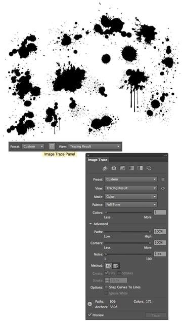 trace the splatter in adobe illustrator