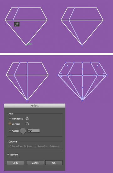 add lines with pen tool for the facets