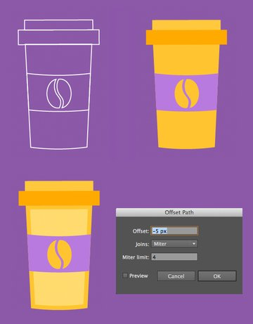 color the cup and add details with offset path
