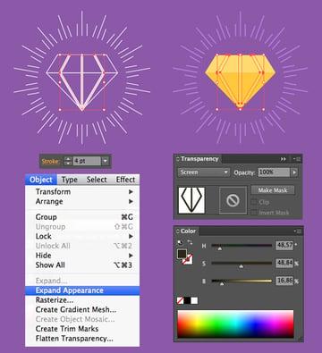 color the diamond