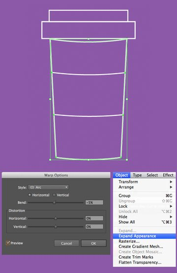 apply arc effect to the cup base