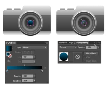 apply a gradient in screen blending mode for the overtone