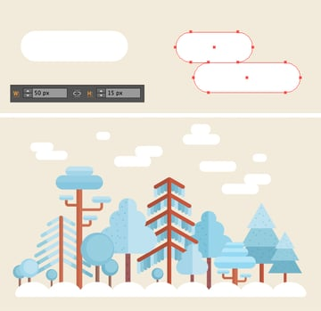 add clouds with rounded rectangle tool