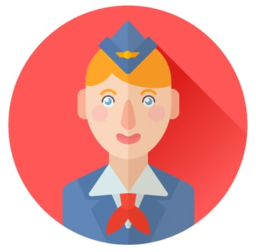 dress up our stewardess and finish up with the icon