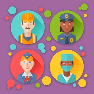 flat professions avatars icons with portraits of people of different occupations