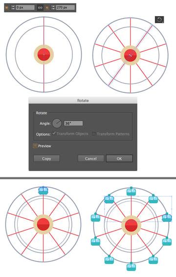 add spokes with line segment tool