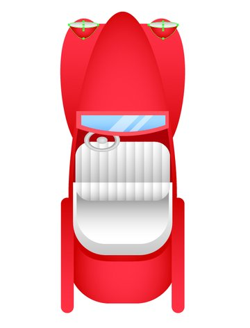 Place the headlights at the top part of the car