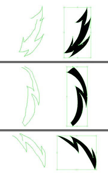Make three more different shapes of lightning
