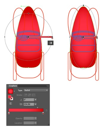 apply a red radial gradient to the base of the car