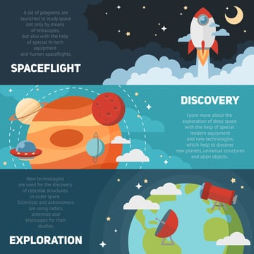 Flat Space Exploration Banners