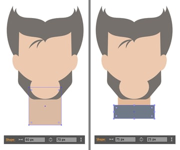 add neck and collar from rectangles