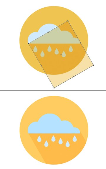Add a yellow circle base to our icon and form a long shadow