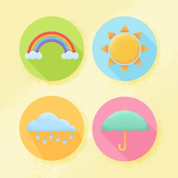 april weather flat textured icons in adobe photoshop is ready