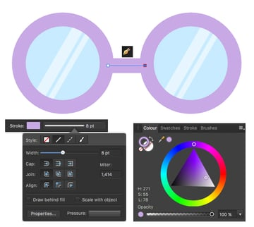 use the pen tool to connect the glasses