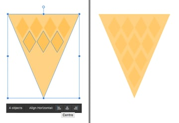 add more diamonds to make the cone textured