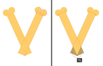 shape the letter v from vertical rectangles