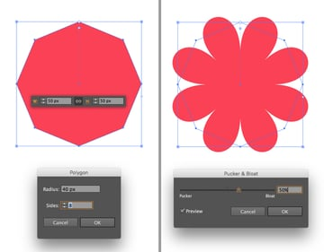 make a flower from octagon