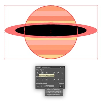 add a ring to our striped planet and align them