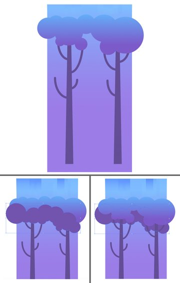 attach the trunks to the tree crown