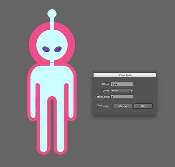 make offset path around the alien