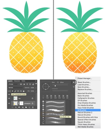 paint over the pineapple with textured brush