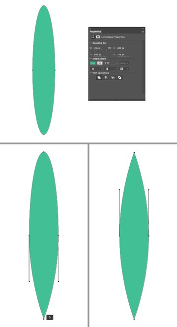 make a leaf from ellipse
