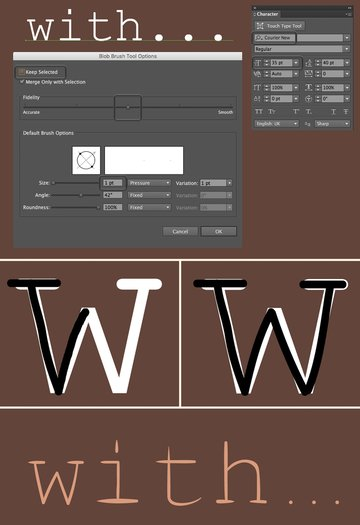 trace the font with Blob Brush Tool