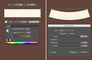 make a ribbon from rectangle and apply arc effect