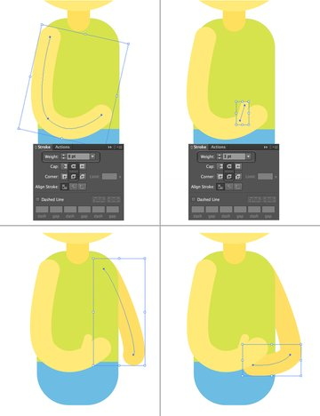 use the pencil tool to draw the arm