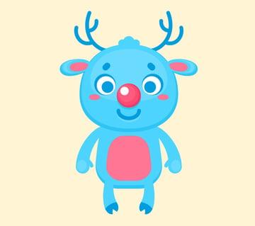 Christmas cartoon deer is ready