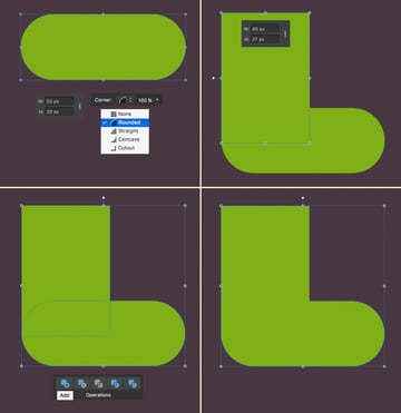 Use the Rounded Rectangle Tool to make a stocking