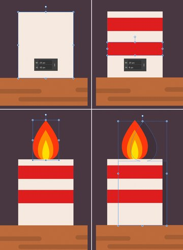 create a candle from rectangles and add a flame