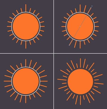 make a sun icon from circle with strokes 3