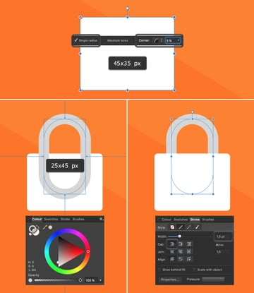 create a security lock icon from rectangles