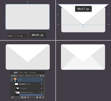 create an envelope from basic shapes