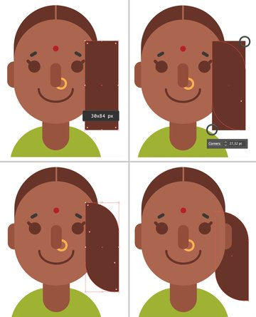 make a ponytail from rectangle