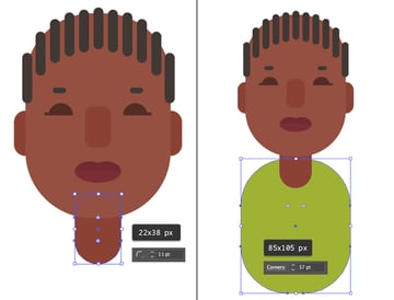create the neck and body from rounded rectangles