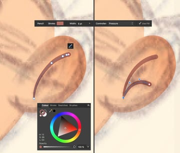 add details to the ear using the Pencil Tool N