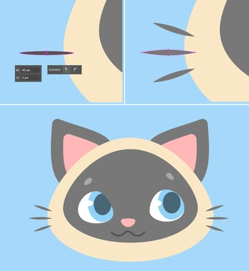 make whiskers from ellipses