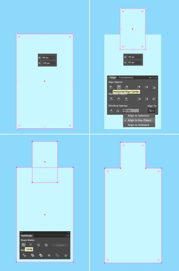 create a bottle from two rectangles