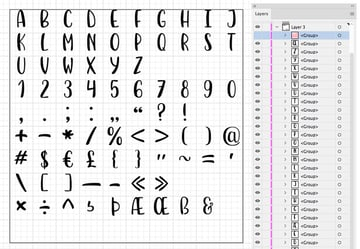 traced letters distributed in adobe illustrator