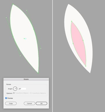 make an ear from the ellipse 2