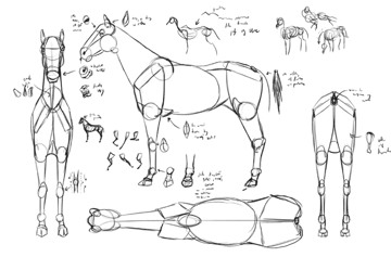 how to draw from imagination horse animal blocks reference sheet