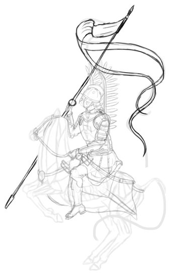 how to draw polish winged hussar lance 2