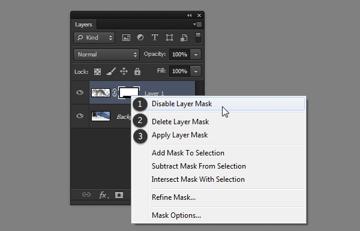 photoshop layer mask options